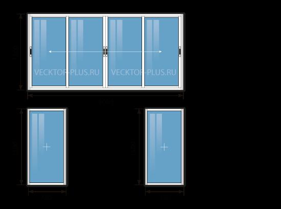 Балкон 3 метра (материал: алюминий)