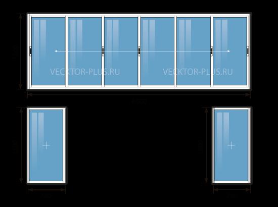 Балкон 6 метров (материал: алюминий)
